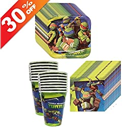 Amscan TMNT Teenage Mutant Ninja Turtles Party Supplies Pack Including Plates, Cups and Napkins - 16 Guests