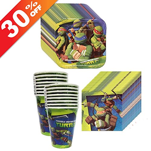 Amscan TMNT Teenage Mutant Ninja Turtles Party Supplies Pack Including Plates, Cups and Napkins - 16 (Turtle Plate)