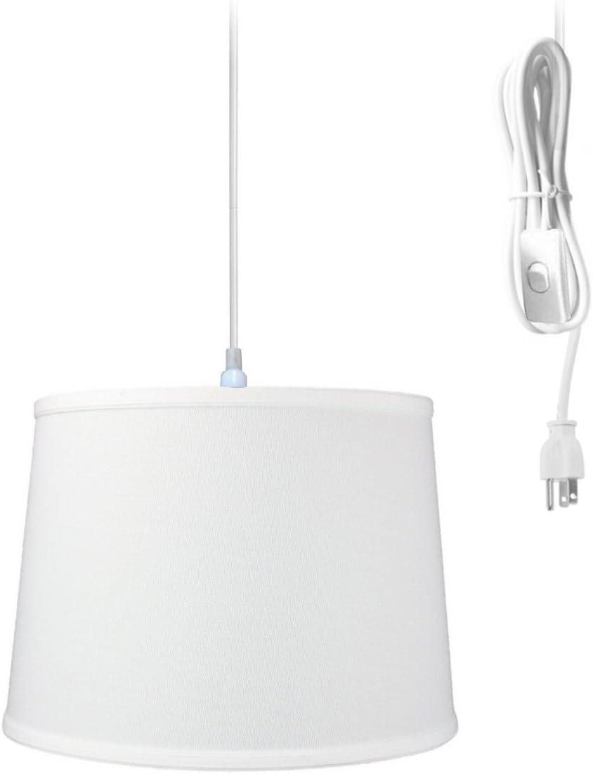 "1 Light Swag Plug-in Pendant 14""w White Shade, 17' White Cord"