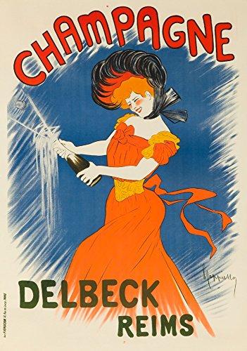 Champagne Delbeck - Reims Vintage Poster (artist: Cappiello, Leonetto) France c. 1902 (9x12 Art Print, Wall Decor Travel Poster)