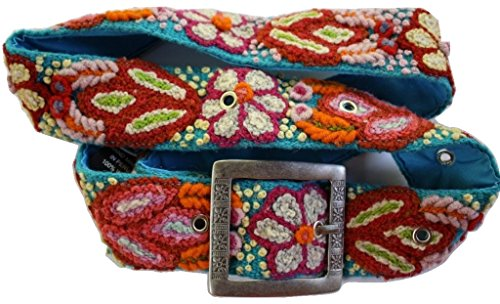 Handmade Embroidered Wool Belt, Made in Peru, Dazzle Me Turquoise (Medium 25