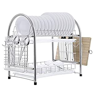 E-Gtong Dish Drying Rack, 2-Tier Stainless Steel Dish Rack, Rustless dish Storage drainer with Draining Tray, Utensil Holder and Cutting Board Holder for Kitchen Countertop