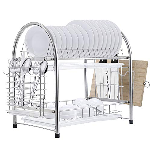 E-Gtong 2-Tier Dish Drying Rack, SUS 304 Stainless Steel Dish Rack, Rustless Dish Storage Drainer with Draining Tray, Utensil Holder and Cutting Board Holder for Kitchen Counter top