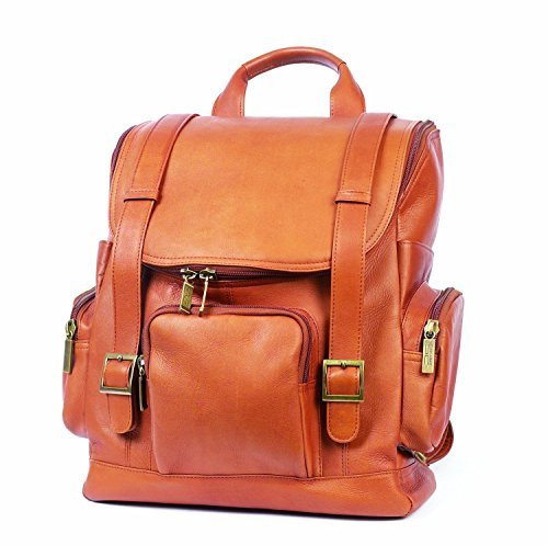 Claire Chase Portofino Computer Leather Backpack, Laptop Bag in Saddle ()
