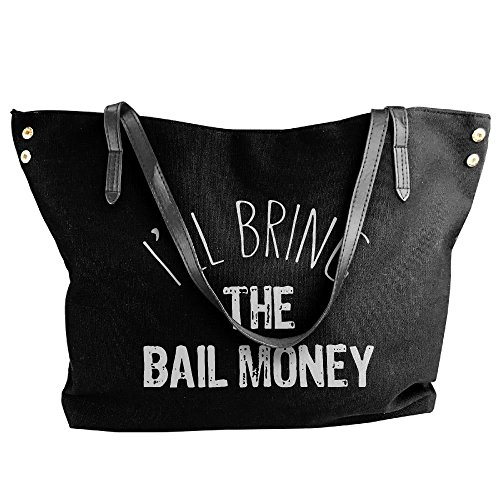 Hand Large I'll Bag Women's Bring Money Shoulder Tote Handbag Canvas Black Bail nqzTC