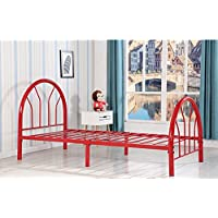 Kids Bed For Girls or Boys - Twin Size Metal Platform Bed Frame - Headboard, Footboard and Slats - Sturdy, Contemporary, Colored - Mattress Not Included (Red)