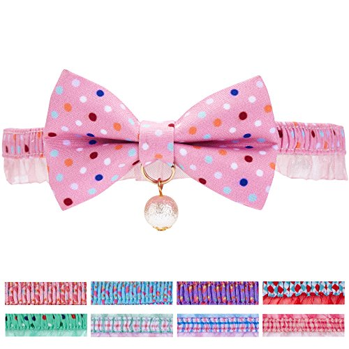 """Blueberry Pet 15 Designs Ultra Pink Polka Dot Breakaway Bowtie Cat Collar Lace Choker Necklace with Handmade Bow Tie and Pearl Charm, Safety Elastic Stretch Collar for Cats, Neck 8.5""""-12"""""""