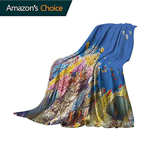 (Ocean Weighted Blanket,Colorful Underwater World with Corals Tropical Fish Exotic Diving Travel Destination Lightweight Microfiber,All Season for Couch or Bed,35