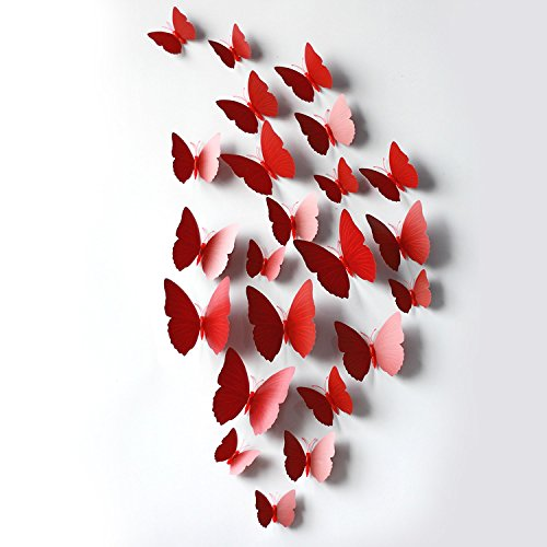 If Feel Removable 24 Pcs 3D Butterfly Wall Sticker Art Decorations Decals Cute Mural Decoration Home Decor Wall Stickers (Home Decor Catalogs Upscale)
