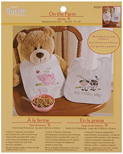 Bucilla Stamped Cross Stitch Bib Pair Kit, 9 by 14-Inch, 45569 On The Farm (Set of (Stamped Cross Stitch Quilted Bibs)