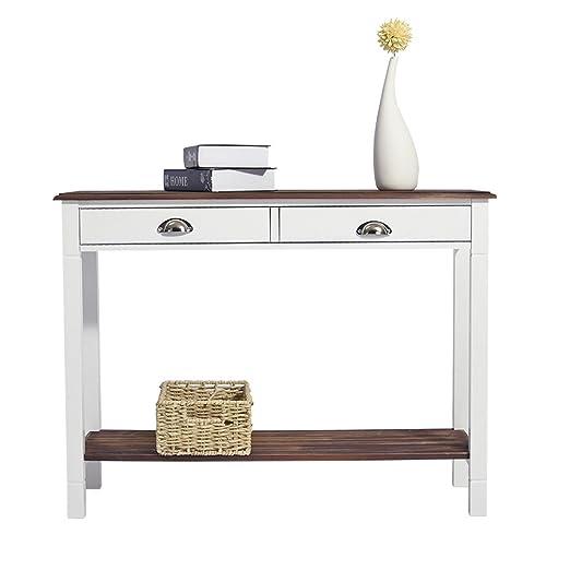 2 cajones con estante de almacenamiento mesa consola mesa auxiliar ...