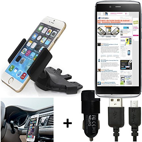 l One Touch Idol Alpha CD slot Smartphone Holder car mount for radio bracket + car charger for Alcatel One Touch Idol Alpha black ()
