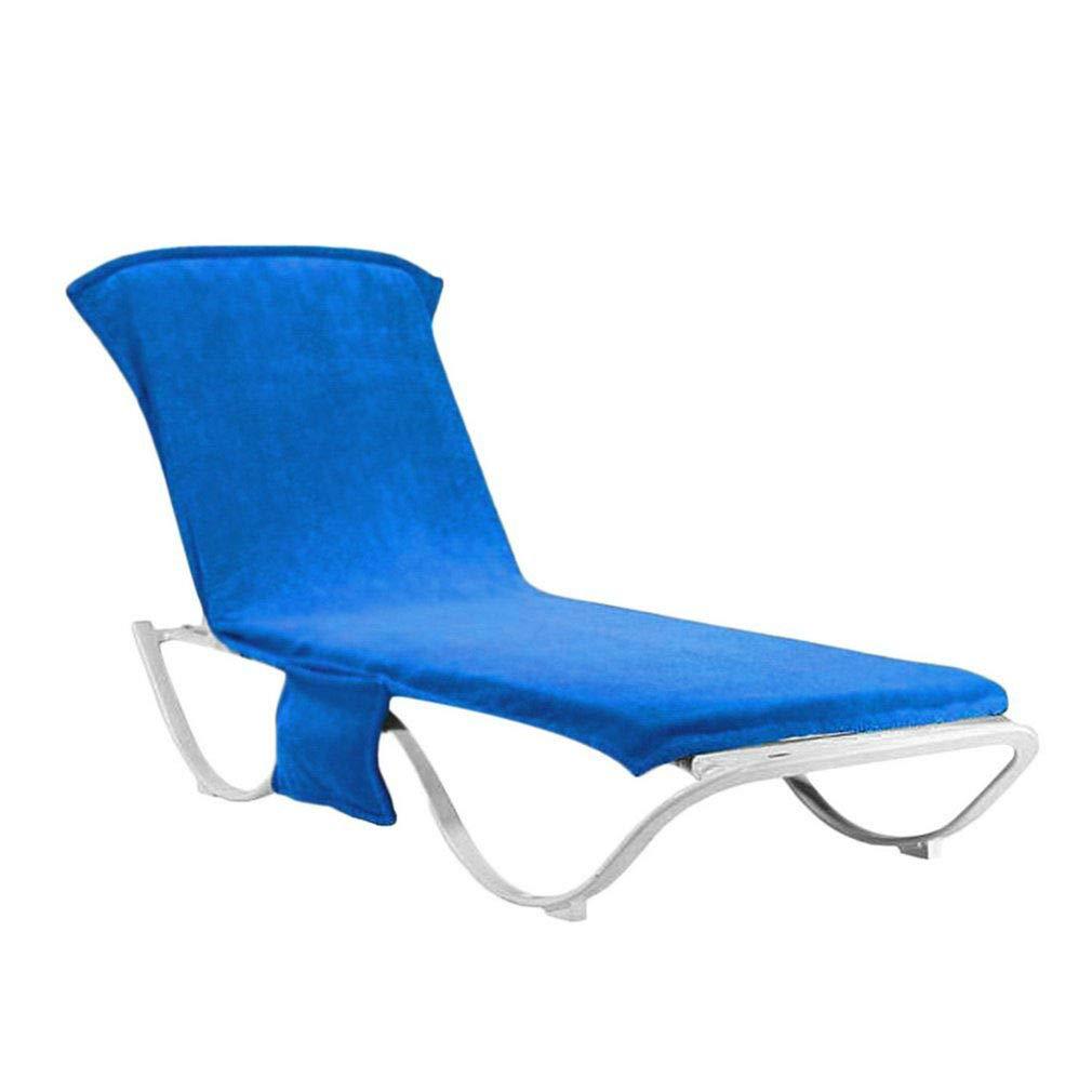Tatayang Sonnenliege Handtuch, Schonbezug für Gartenliege Liegestuhlauflage, Handtuch für Sonnenliege Strandtuch für Liegestuhl, Liegestuhl Bezug mit Seitentasche 215 * 75cm (Blau)
