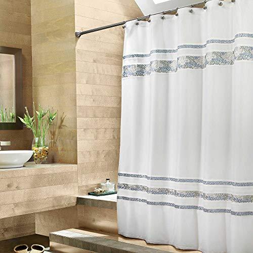 (Croscill Spa Tile 72 X 84 Fabric Shower Curtain in White)
