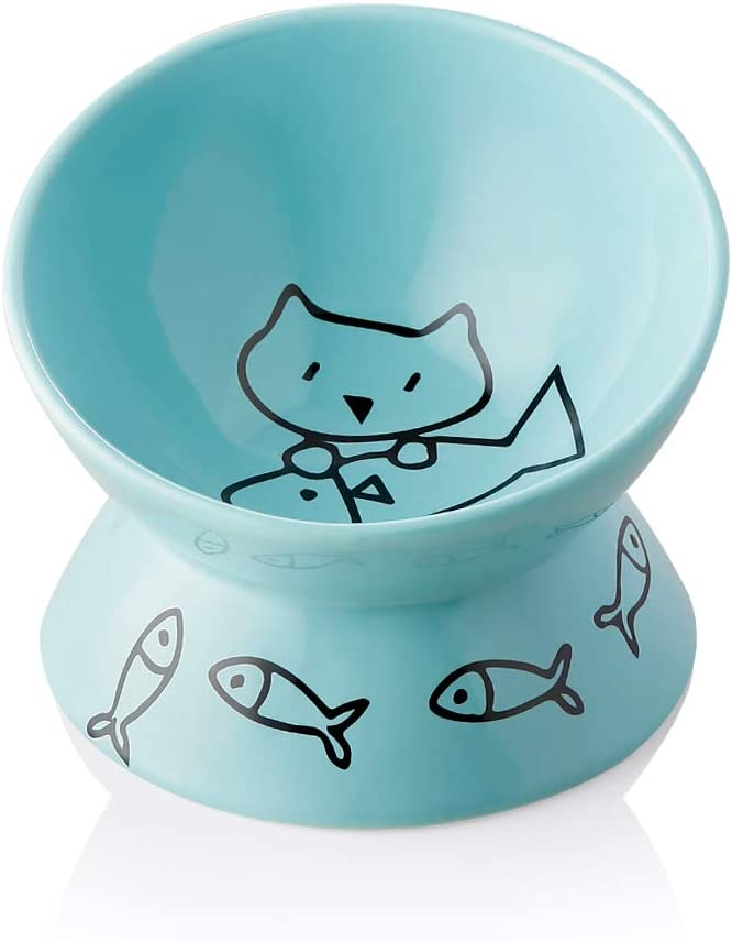 SWEEJAR Raised Cat Bowl for Dry Wet Cat Food, Ceramic Elevated Pet Bowl Cat Dish, Protect Cat's Spine, Stress Free, Slanted Design for Cat Easy Eating, 10 oz, Dishwasher Safe (Turquoise)