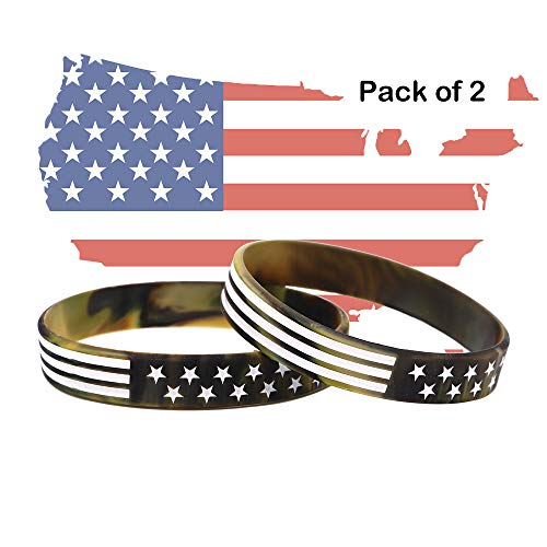 (AVEC JOIE USA Rubber Wristbands Silicone Bracelet with American Flag in Black and Army Green for American Patriots, Army and Sport Fans)
