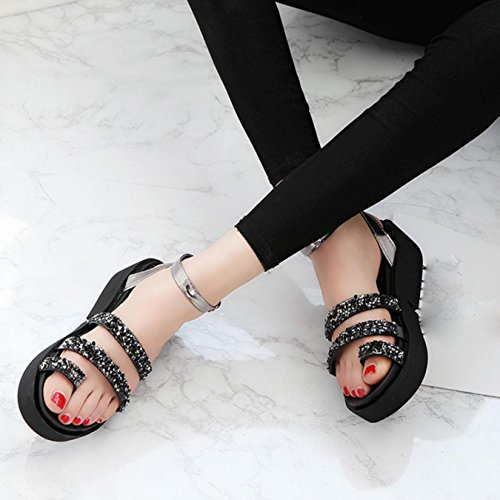 Sandalias de mujer, Internet Zapatos planos de las sandalias del verano de las sandalias del Rhinestone de las mujeres Negro