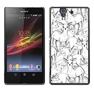 Be Good Phone Accessory // Dura Cáscara cubierta Protectora Caso Carcasa Funda de Protección para Sony Xperia Z L36H C6602 C6603 C6606 C6616 // Deer Fox Pen Pencil Drawing Art Hand