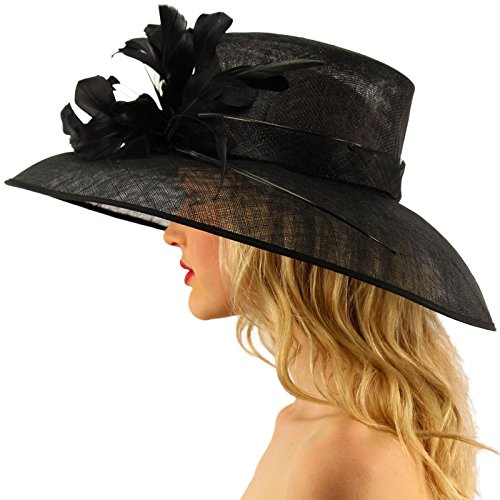 For a Queen Dome Sinamy Floral Spray Feathers Derby Floppy Dress Wide Hat