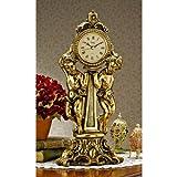 16.5'' Classic French Rococo Style Cherubs Decorative Mantle Clock
