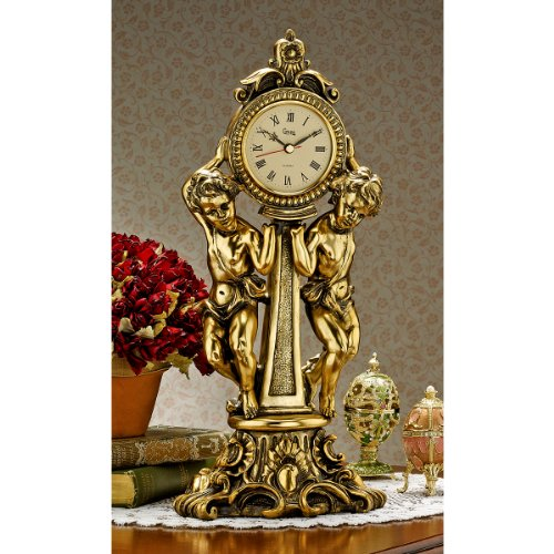 16.5'' Classic French Rococo Style Cherubs Decorative Mantle Clock by Artistic Solutions