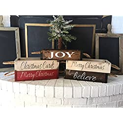 Rustic Christmas Centerpiece Wood Box - Christmas Card Holder - Holiday Decor