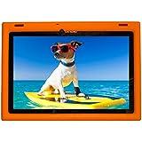 Bobj Rugged Case for Lenovo 10 TB-X103F and Tab 2 A10-30, Tab2 X30F - BobjGear Custom Fit - Patented Venting - Sound Amplification - BobjBounces Kid Friendly (Outrageous Orange)