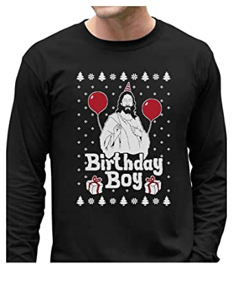 jesus birthday boy ugly christmas sweater xmas holiday long sleeve t shirt small black