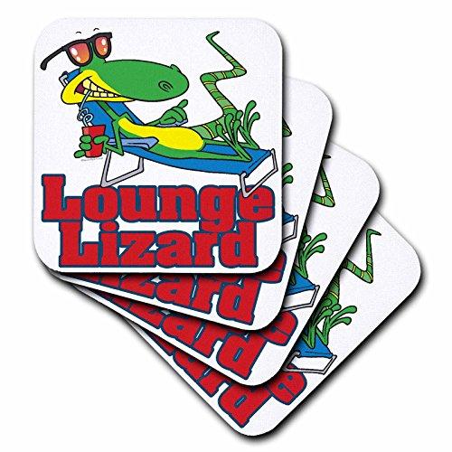 Lounging Lounge Lizard (3dRose Lounging Lounge Lizard Cartoon - Soft Coasters, Set of 8 (cst_104246_2))