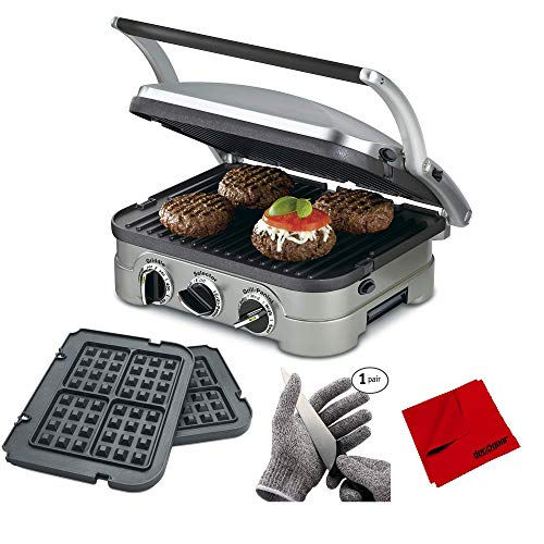 Cuisinart GR-4NW Multifunctional Griddler w/Waffle Plates, Grill & Panini Press Bundle with Food Grade Kitchen Safety Cut Resistant Stretch Fit Gloves and Microfiber Cleaning Cloth (Cuisinart Griddler Grill Plates)