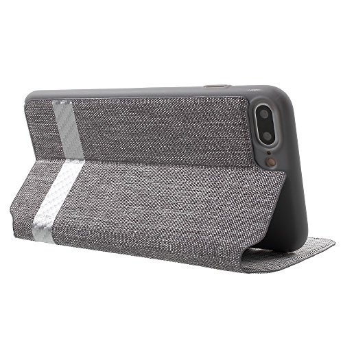 G-Tasche Hüllen Schutzhülle Case Card Slot Canvas Leather Stand Cell Phone Tasche Hüllen Schutzhülle - Cover für iPhone 7 Plus - grau
