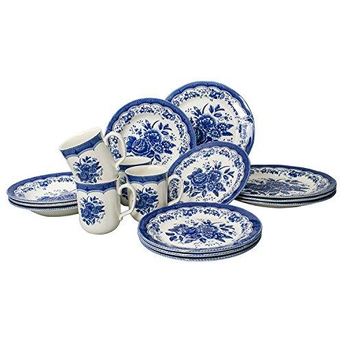 Tudor Royal Collection 16-Piece Premium Quality Round Porcelain Dinnerware Set, Service for 4 - VICTORIA Blue, See 10 Designs Inside! ()