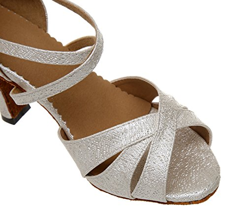 Glitter TDA Dance Tango Women's Beige Fashion Satin Wedding Salsa Strap Ankle Ballroom Modern Shoes Latin nXTwXfqrxg