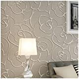 QIHANG Modern Minimalist Embossed 3D Rose Flower Non-Woven Wallpaper Cream&Gray Color 0.53m(1.738' W) x 10m(32.8' L)=5.3㎡(57 sq.ft)