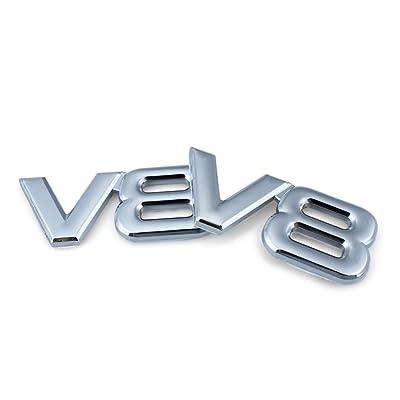 EFORCAR V8 Car Sticker 3D Metal Chrome Car Decoration Adhesive V8 Truck Car Badge Emblem Sticker for Universal Cars Motorbikes Decorative Accessories-2pcs: Automotive