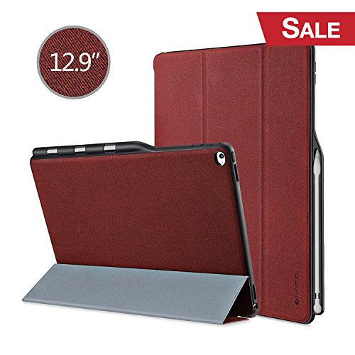 iPad Pro 12.9 Case, iVAPO iPad Pro 12.9 Cover Brief Business Style PU Slim Fit Flip Folio Case with Stand Feature Auto Sleep/Wake Function Smart Fabric Cover for iPad pro 12.9 inch - Burgundy Red (Function Fabric)
