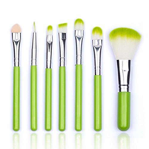 7Pcs Pro Makeup Brushes Sets Eyebrow Shadow Foundation Blush Powder Brushes US - Green Foundation Powder