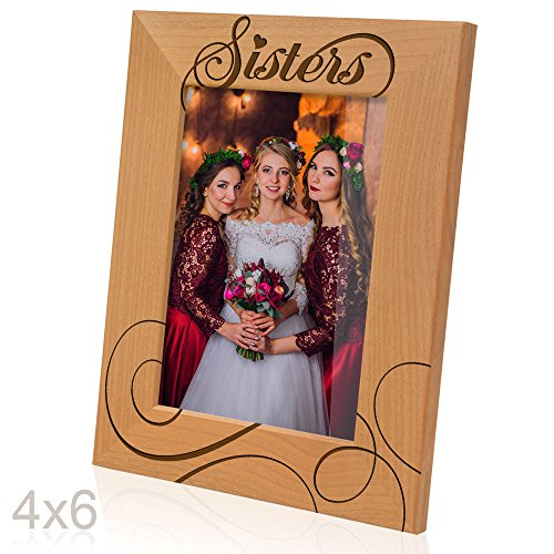 Kate Posh - Sisters Picture Frame - Engraved Natural Wood Photo Frame - Big Sister, Little Sister, Maid of Honor, Matron of Honor Wedding Gifts, Birthday Gifts (4x6-Vertical)