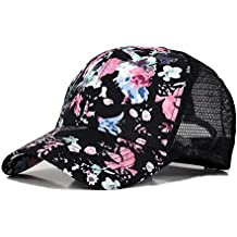 Xelue FF Summer Women Girl Kid Graffiti Cotton Blend Breathable Hip Hop Baseball Cap Trucker Sun Hat Mesh UV Protection Adjustable