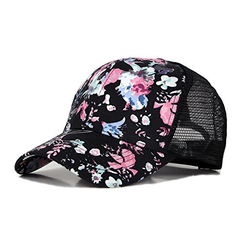 (Summer Women Girl Kid Graffiti Cotton Blend Breathable Hip Hop Baseball Cap Trucker Sun Hat Mesh UV Protection Adjustable (Black))