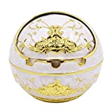 CC-US Vintage Ashtray with Lid, Desktop Smoking Ash Tray for Home office Decoration