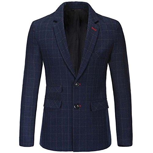 Vazpue Suits England Mens Suit Jacket Blazer Men 2016 New Arrival Autumn Fashion Two Button Suit Costume Homme Silm Fit Plaid Blazer Men as picture Dark blueM