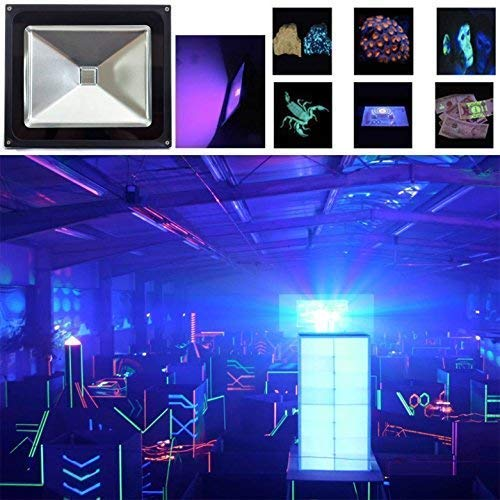 UV LED Black Light, HouLight High Power 10W Ultra Violet UV LED Flood Light IP65-Waterproof (85V-265V AC) for Blacklight Party Supplies, Neon Glow, Glow in The Dark, Fishing, Aquarium, Curing by HouLight (Image #1)