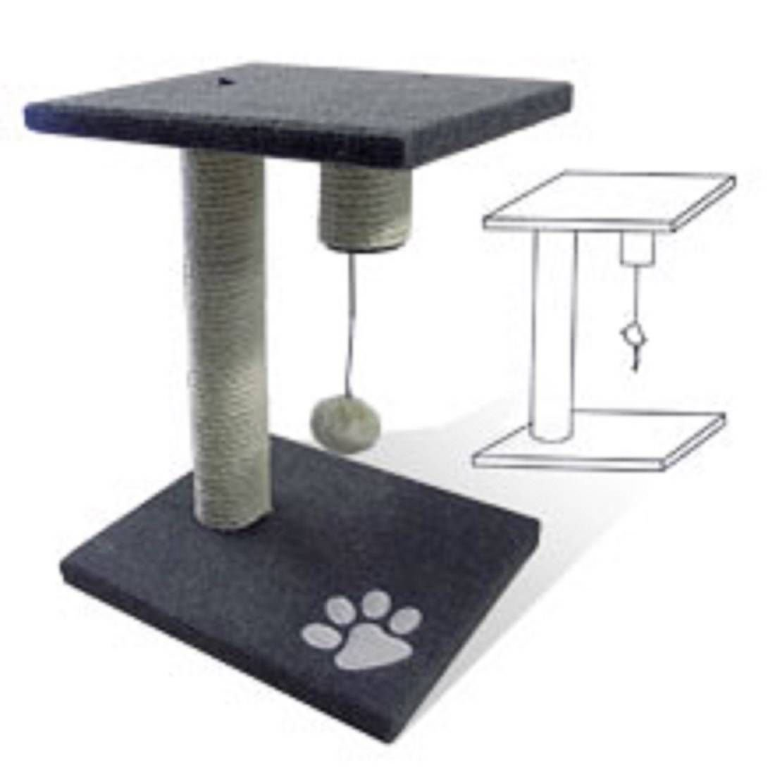Kitty Cat Tree Scratching Pet Board Gray with Toy 2 Levels