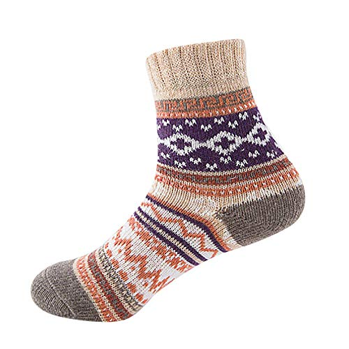URIBAKE Women Vintage Socks Geometry Print Soft Winter Thermal Thick Cold Knit Wool Hose Stockings -