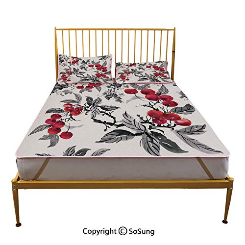 Rowan Creative King Size Summer Cool Mat,Artwork of Mountain Ash Plants Watercolor Painting Style Shrubs Forest Foliage Sleeping & Play Cool Mat,Ruby Grey Black