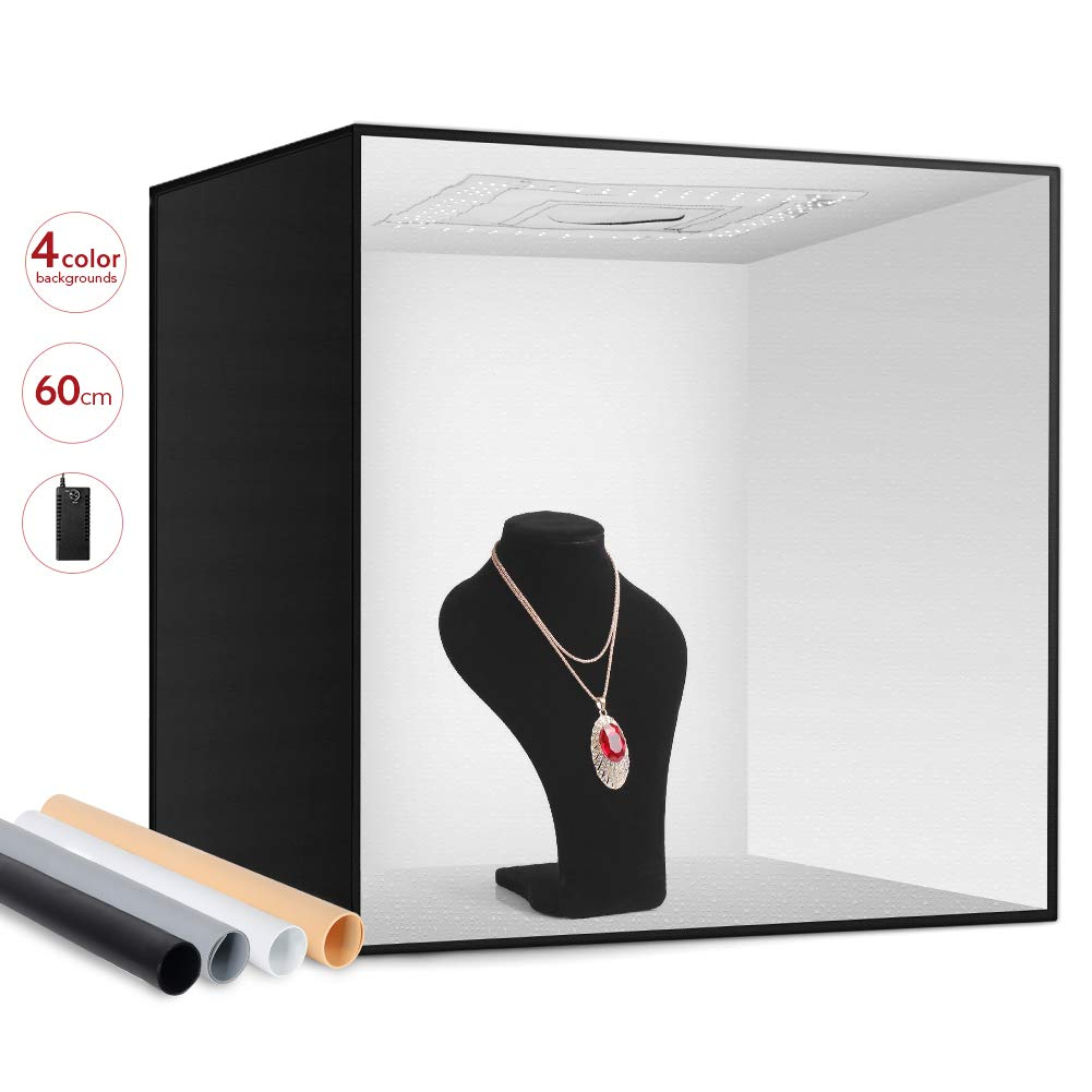 ESDDI Photo Studio Light Box 24''/60cm Adjustable Brightness Portable Folding Hook & Loop Professional Booth Table Top Photography Lighting Kit 156 LED Lights 4 Colors Backdrops by ESDDI