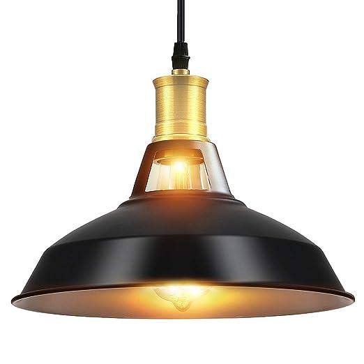 Lightsjoy Lámpara colgantes industrial iluminación de techo vintage negra E27 Edison luces colgantes para la cocina dormitorio Hotel Bar Club ...