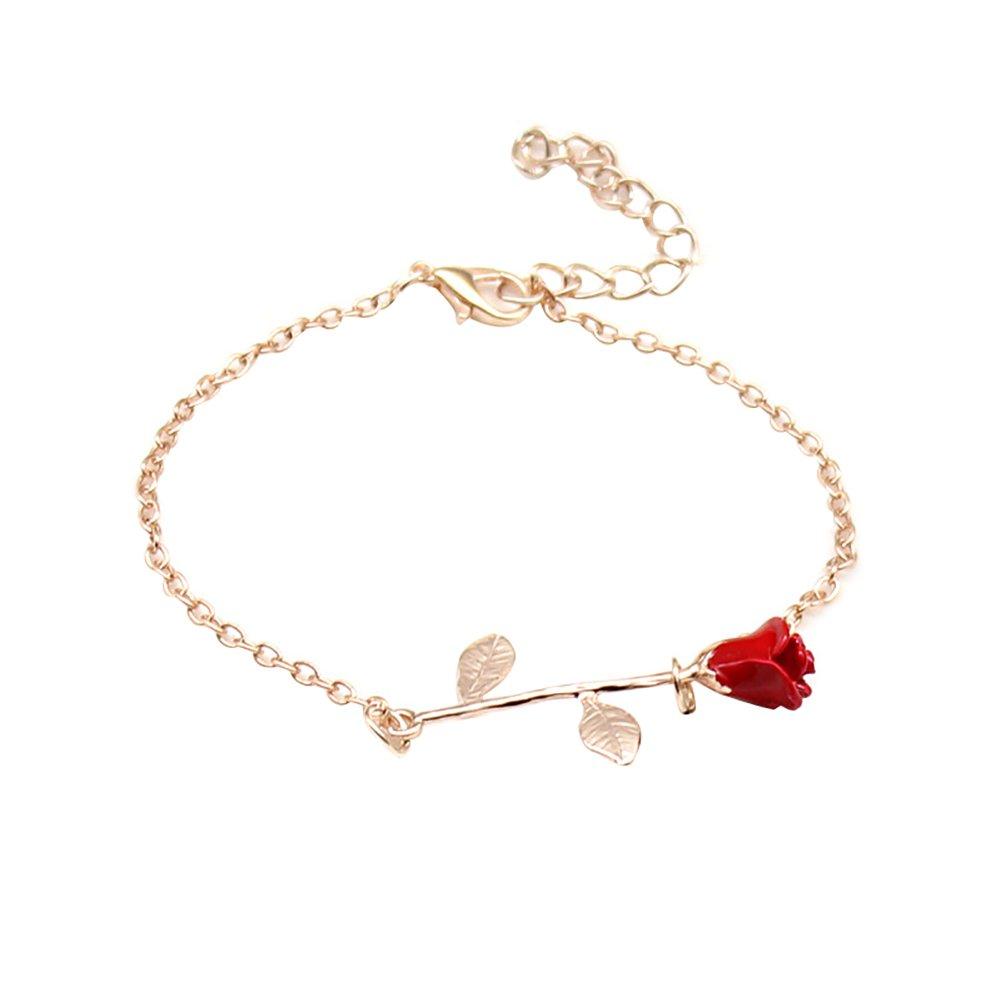 Fashion Rose Flower Charm Bangle Women Wrist Chain Jewelry Adjustable Bracelet