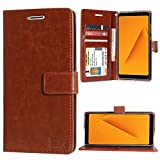 DMG Premium Leather Wallet Flip Cover Stand Case for Samsung Galaxy A8 Plus (ID Brown)